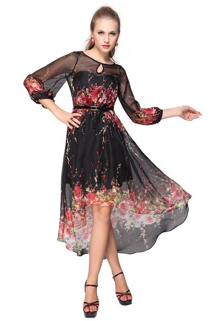 Модные фасоны платьев из шифона лето 2014