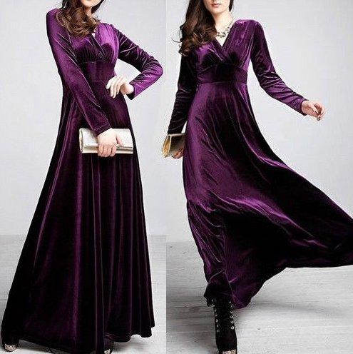 Фасоны бархатных платьев с длинным